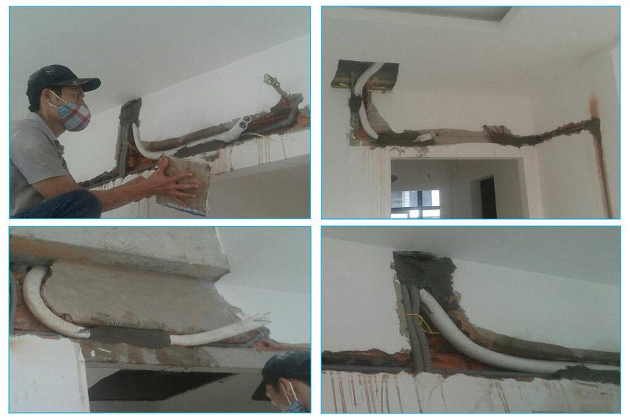 Cách đi ống đồng máy lạnh âm tường đúng chuẩn của Trung Tâm Sửa Chữa Bảo Hành Dikin